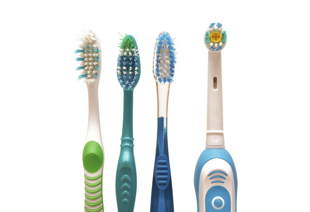 Row of toothbrushes